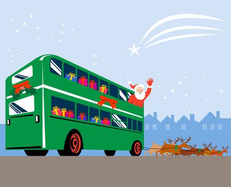 Santa Claus inside bus waving and reindeers Vector