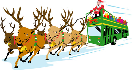 Santa Claus with reindeers pulling a bus