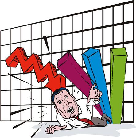 Sales graph crashing on man Vector