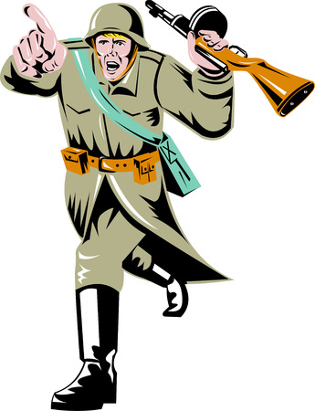World war two Soviet soldier pointing Stock Vector - 4448418