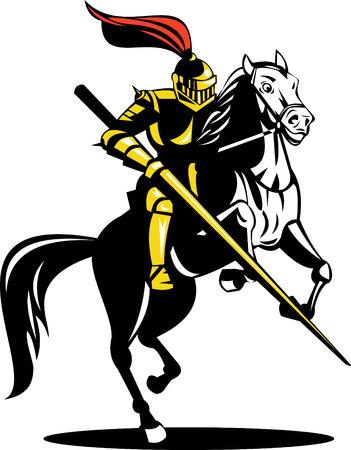 Caballero a caballo con lanza Ilustración de vector