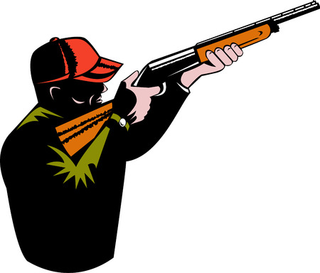 shooter: Hunter aiming a shotgun