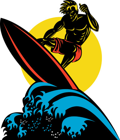 board shorts: Dude surfing the big waves Illustration
