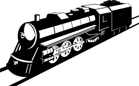 railroad track: Steam train Illustration