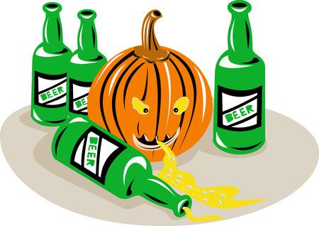 Halloween pumpkin and beer bottles Vector