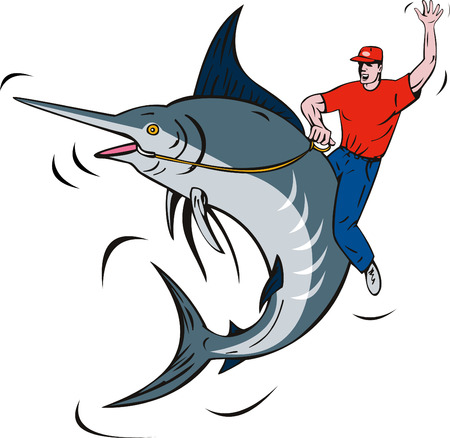 fullbody: Fisherman riding a blue marlin Illustration