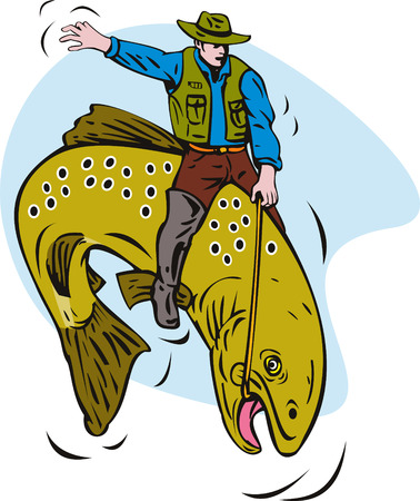 fullbody: Fly fisherman riding a bucking trout Illustration