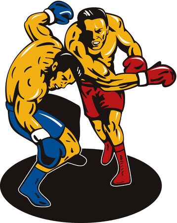 knockout: Boxer connecting a knockout Illustration
