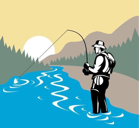 バック グラウンドでの山のはえの漁師