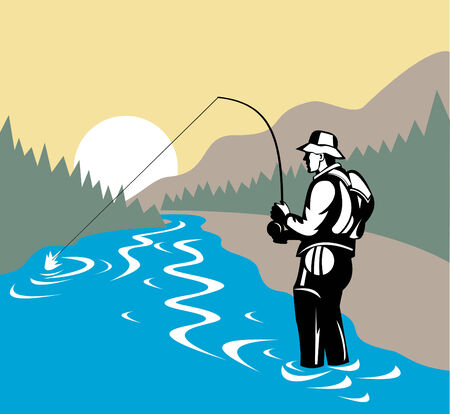 angler: Fly fisherman with mountains in background