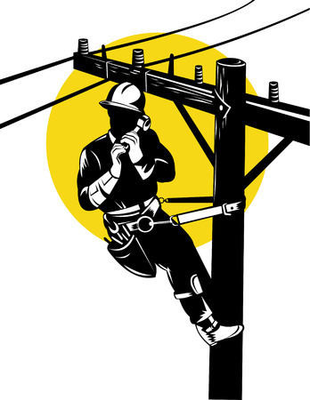 utility pole: Power Lineman at work