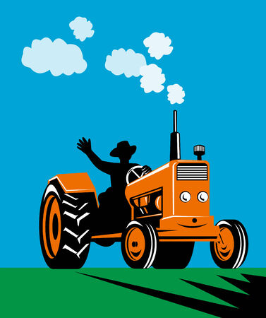 crop: farmer and tractor