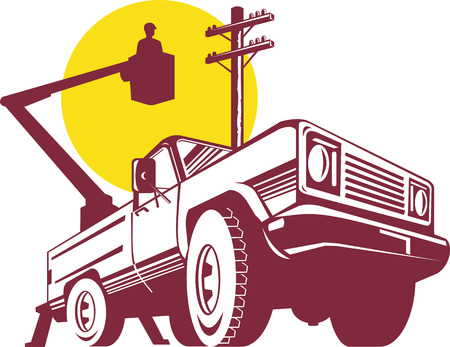 electricity post: Bucket truck with lineman
