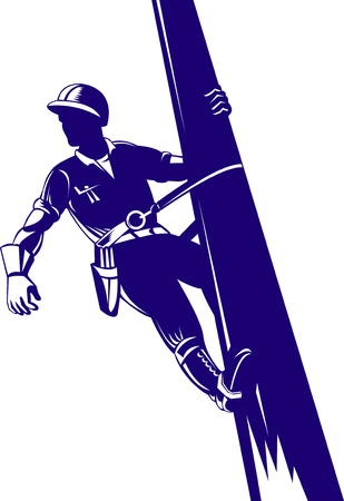 utility pole: Powr lineman at work Illustration