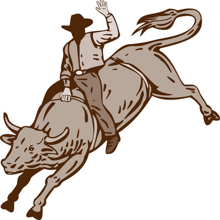 Cowboy bull riding Stock Vector - 4455922
