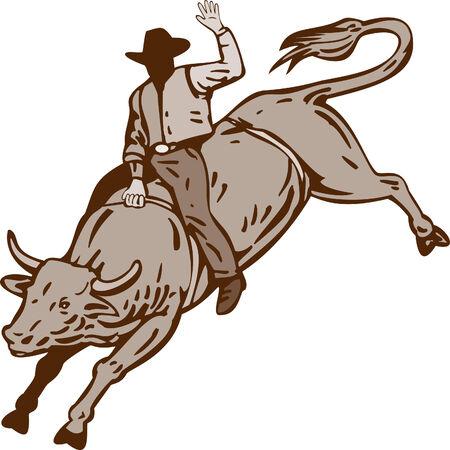 american rodeo: Cowboy toro a caballo Vectores