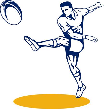 and rugby ball: El jugador de rugby patear la pelota Vectores