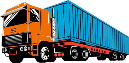 Truck and trailer Vector