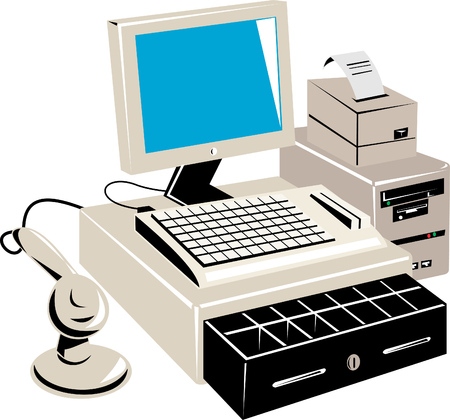 handheld computer: PC based retail point of sale system Illustration
