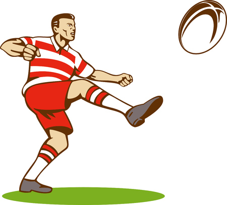 Rugby player kicking the ball Stock Vector - 4519264