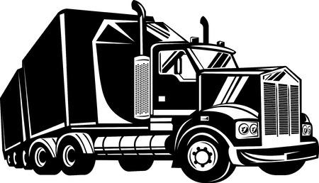 fullbody: Truckand remolque aisladas sobre fondo blanco Vectores