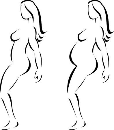 frau ganzk�rper: Schwangere weibliche silhouette  Illustration