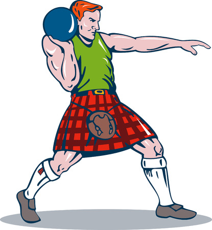man full body: Scottish player about to put the shot Illustration