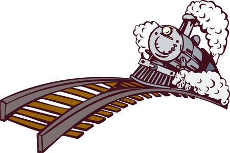 locomotora: Tren de vapor, subiendo Vectores