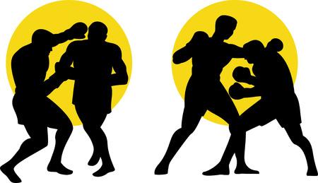 peleando: Boxeador siluetas