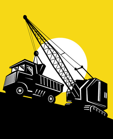earthmover: Crane loading a dump truck