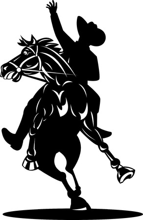 bucking horse: Cowboy riding a bucking bronco Illustration