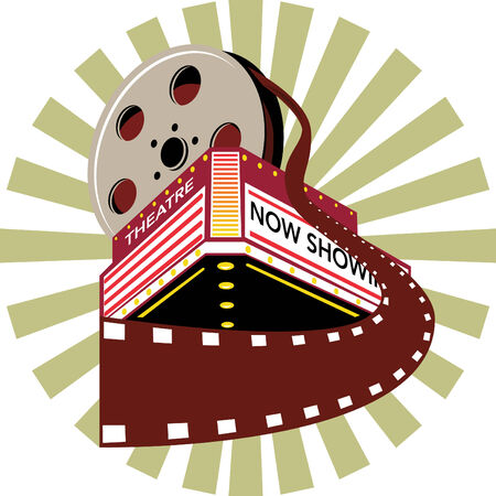 Theatre with film roll coming out Vector