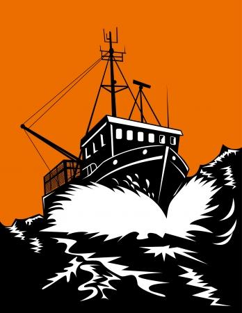 bateau de peche: Bateau de p�che bat �norme houle Illustration