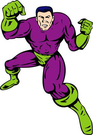 Superhero punching Vector