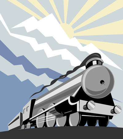 Train with mountains in the background Vector