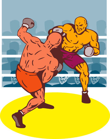 knockdown: Boxer connecting a punch Illustration