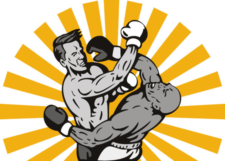 knockout: Boxer connecting a punch Illustration