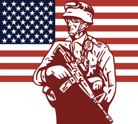 American Military serviceman and flag Stock Vector - 4582522