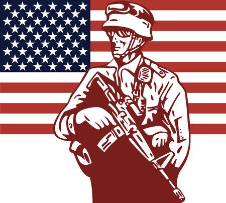 Militar Americana militar y la bandera