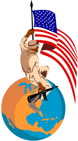 American soldier with flag on top of globe Vector
