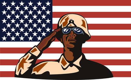 serviceman: American Military serviceman and flag Illustration