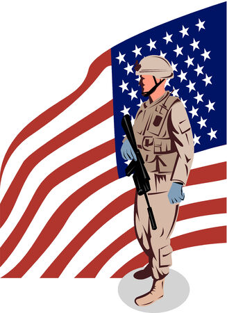 serviceman: American Military serviceman and flag Illustration
