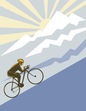 Cyclist racing up a mountain Stock Vector - 4582508