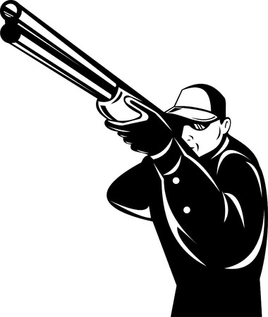 aim: Hunter aiming a rifle Illustration