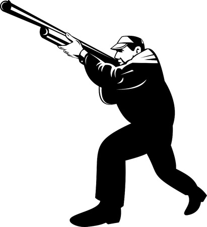shooter: Hunter aiming a rifle Illustration
