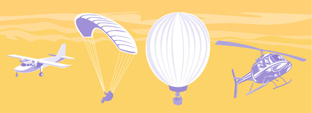 Airplane, paraglider, balloon and chopper Vector