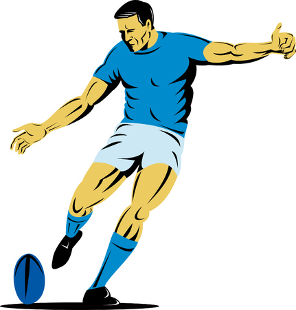Rugby player kicking the ball Stock Vector - 4582497