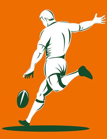 kicking ball: El jugador de rugby patear bola