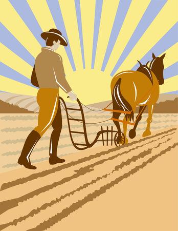 Farmer plowing the field Stock Vector - 4582518