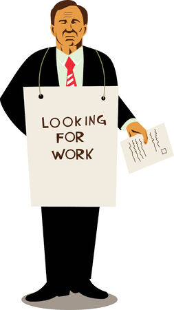 sandwich white background: Man looking for work Illustration
